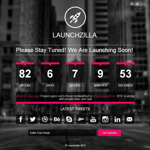 Launchzilla – Responsive Coming Soon HTML Template 12 Mojo